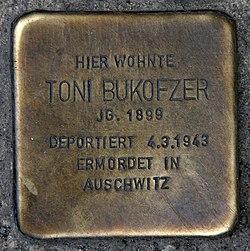 Photo of Toni Bukofzer brass plaque