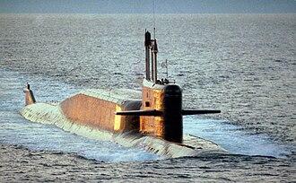 Delta-class submarine - A Delta IV-class nuclear-powered ballistic missile submarine