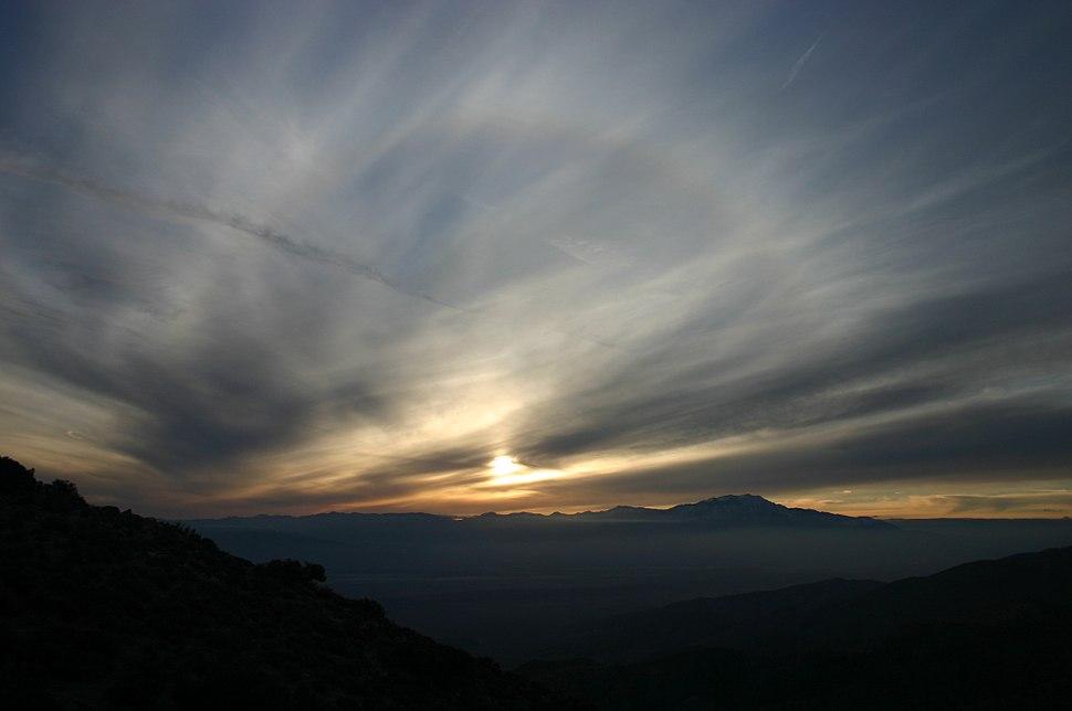 Sunset Solar Halo at Keys View of Joshua Tree National Park