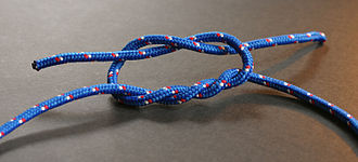 Surgeon's knot - The surgeon's knot before tightening showing the two twists in the bottom and the one on top