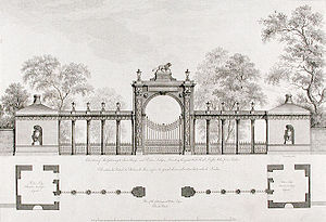 Syon House - A design for a gateway and porters' lodges at Syon House by Robert Adam, c.1769.