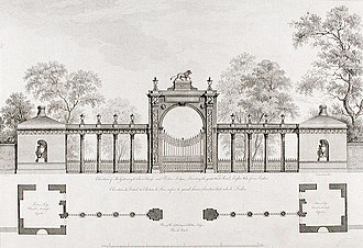 Syon House - A design for a gateway and porters' lodges at Syon House by Robert Adam, c. 1769