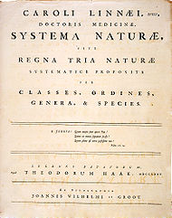 The title page of the 1st edition of Systema Naturae, in which Linnaeus presents his system for the classification of the three natural kingdoms for the first time