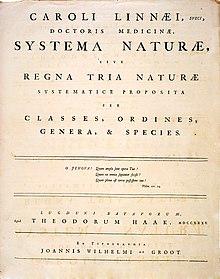 Linneo, Systema Naturae, copertina della 1a edizione.
