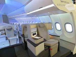 Airbus A330neo - TAP Portugal interior mockup at ITB Berlin 2017