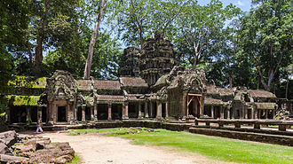 Khmer architecture - A gopura leads into the 12th-century temple compound at Ta Prohm.