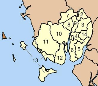 Kantang District - Map of tambon