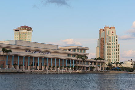 Tampa Convention Center, built at the site of Fort Brooke Tampa Convention Center from Bayshore.JPG