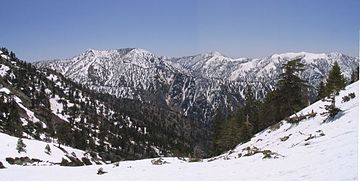 Peaks in the eastern San Gabriel Mountains, Angeles National Forest, San Bernardino County. Telegraph Cucamonga and Ontario Peaks.jpg