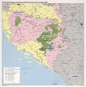 Battle of Bugojno - Territorial changes in Bosnia and Herzegovina since January 1993, also showing the area of Bugojno