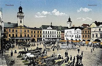History of Teschen - Town square at the old postcard