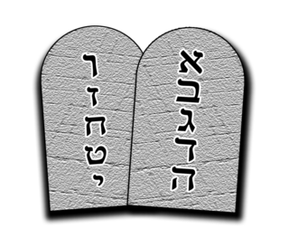 Tablets of Stone - A popular image of the Tablets as rounded-off rectangles bears little relationship with religious traditions about their appearance. In this case, the Ten Commandments are represented by the first ten letters of the Hebrew alphabet, which in Hebrew usage may be used interchangeably with the numbers 1-10.