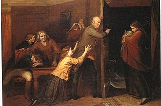 Legitimacy (family law) - The Outcast, by Richard Redgrave, 1851. A patriarch casts his daughter and her illegitimate baby out of the family home.