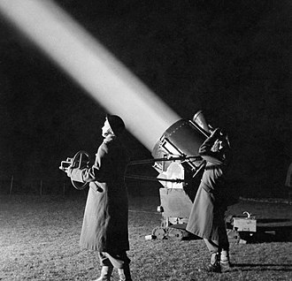 Searchlight - ATS officers-in-training crew a 90 cm searchlight in Western Command, 1944