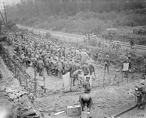 51st (Highland) Division - Prisoners taken in Beaumont Hamel, France, during the Battle of the Ancre, by the 51st (Highland) Division, 13 November 1916.
