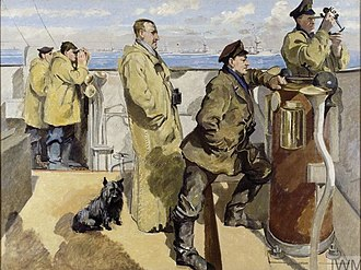 Percy Royds - Royds (in a long duffel coat) with his dog, on the bridge of the Canterbury during the raid on Zeebrugge in 1918
