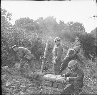 15th Infantry Brigade (United Kingdom) - 4.2-inch mortar of 15th Brigade Mortar Support Company in action in the Anzio bridgehead, Italy, 16 March 1944.