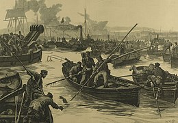 Thames watermen in a small rowing boats, using boathooks to pull the dead from the river