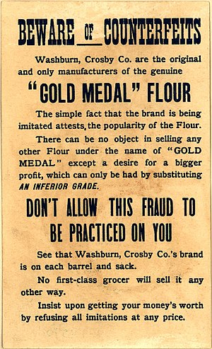 "Minneapolis - Washburn, Crosby Co. advertisement (1880s): From the obverse, ""The Leading Flour: We lead: Others follow."""