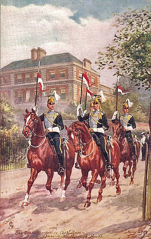 21st Lancers - A troop from the 21st Lancers passing Marlborough House, circa 1911