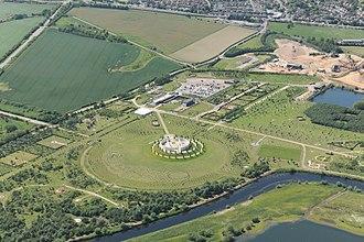 National Memorial Arboretum - Aerial view, with River Tame at bottom.