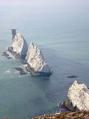 Chalk - The Needles, situated off the Isle of Wight, are part of the extensive Southern England Chalk Formation.