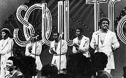 The group performing on Soul Train in 1974. From left to right: Airrion Love, James Smith, James Dunn, Herb Murrell, and Russell Thompkins Jr.
