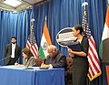 The Union Minister for Labour and Employment, Shri Mallikarjun Kharge and the US Labour Secretary, Ms. Hilda Solis signed a MoU on labour & employment between India and USA, at Washington DC on February 02, 2012.jpg