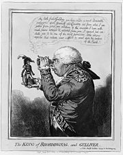 Caricature of George holding Napoleon in the palm of his hand. James Gillray, 1803.
