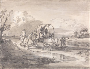 Open Landscape with Horsemen and Covered Cart