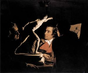 An Experiment on a Bird in the Air Pump - Three Persons Viewing the Gladiator by Candlelight (1765)