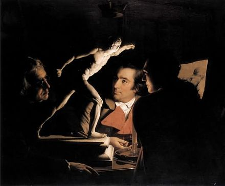 Three Persons viewing the Borghese Gladiator by candlelight, by Joseph Wright of Derby, 1765 Three Persons Viewing the Gladiator by Candlelight.jpg