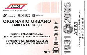 Azienda Trasporti Milanesi - A ticket celebrating 75 years of ATM.