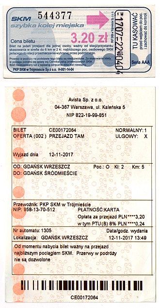 Szybka Kolej Miejska (Tricity) - Full price 2017 tickets for less than 6km of travel. Top ticket is a single use booklet type and bottom is an machine issued ticket for immediate use.