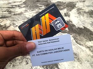 Kereta Commuter Indonesia - Multi trip (black) and single-trip (white) ticket of KA Commuter Jabodetabek