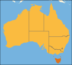 Location of Tasmania within Australia