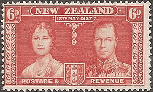 Coronation of King George VI and Queen Elizabeth - Commemorative stamp, issued in New Zealand.