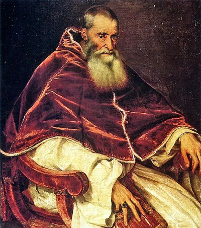 """Pope Paul III"" (Artist: Titian) 1490-1576, c. 1543, Reign 13 October 1534 - 10 November 1549, Presided over part of the Council of Trent Tizian 083b.jpg"