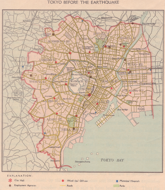 Tokyo City - Map of Tokyo City before the Great Kanto earthquake of 1923