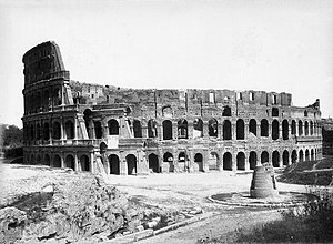 Meta Sudans - The Meta Sudans before the Colosseum in 1858