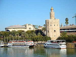 Casco Antiguo - The Torre del Oro and the Teatro de la Maestranza are in the El Arenal neighbourhood of the Casco Antiguo.