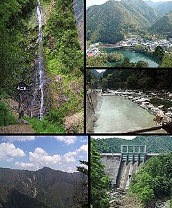 Top left:Jyuni(Twelve) Waterfall, Top upper right:View of Totsukawa Spa area, Top lower left:View of Kamiyu Spa area, Bottom left:Mount Shaka, Bottom right:Kazeya Dam