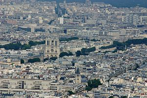 Contrast (vision) - An image of the Notre Dame cathedral as seen from the Eiffel Tower