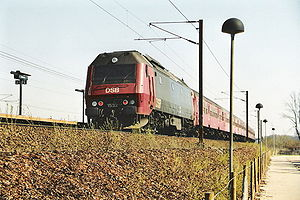 DSB (railway company) - Passenger train showing the red/black livery introduced in 1972.