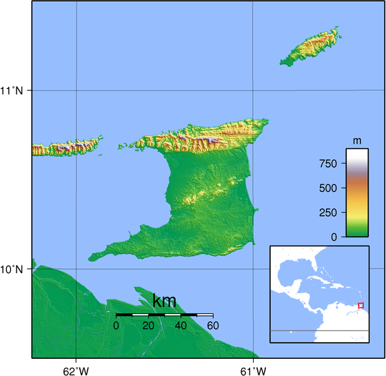Trinidad and Tobago's topography Trinidad Topography.png