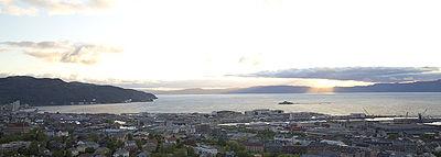 Overlooking the harbor in Trondheim.
