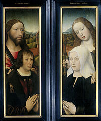 Two Wings of a Triptych with the Donor, Thomas Isaacq, accompanied by Saint Thomas (left, outer wing), and the Donor's Wife accompanied by Saint Margaret (right, outer wing)
