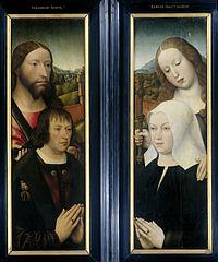 Twee vleugels van een drieluik met de stichter, Thomas Isaacq (?-1539/40) vergezeld door de heilige Thomas (buitenzijde linkervleugel) en de echtgenote van de stichter vergezeld door de heilige Margar