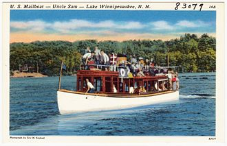 Boat Railway Post Office - U.S. Mailboat Uncle Sam on Lake Winnipesaukee