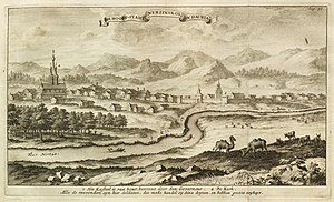 Nerchinsk - View of Nerchinsk, from Eberhard Isbrand Ides (1710), Driejaarige reize naar China (Dutch edition)